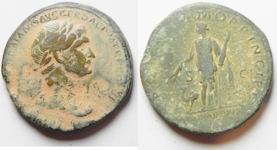 Ancient Coins - Sestertius With Arabia. Trajan (AD 98-117). AE sestertius (32mm, 25.02g). Rome mint. Struck c. AD 112-113.