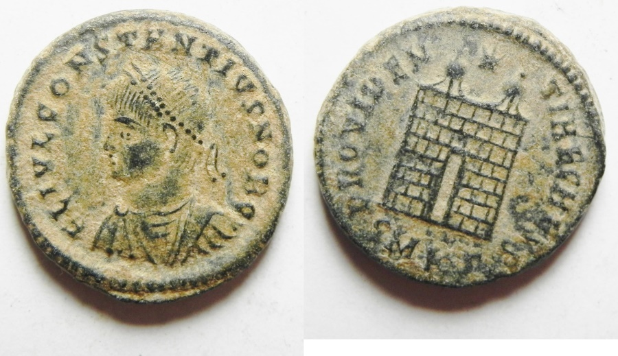 Ancient Coins - CONSTANTIUS II AE 3. NICE CAMP GATE
