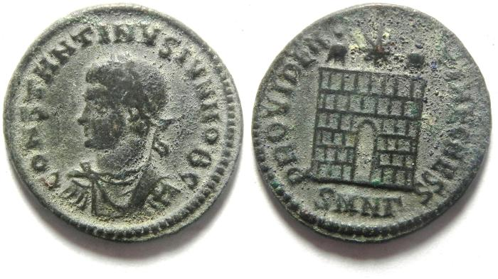 Ancient Coins - CONSTANTINE II AE 3 , CAMP GATE