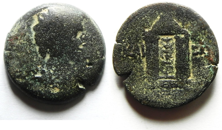 Ancient Coins - Egypt. Alexandria under Augustus (27 BC-AD 14). AE diobol , Extremely Rare coin!!!!!!