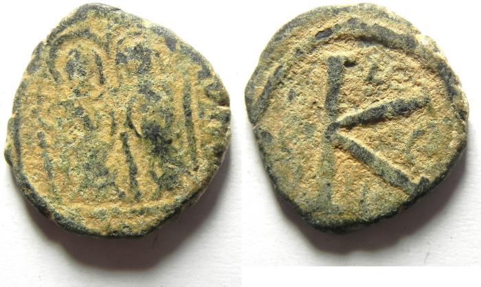 Ancient Coins - BYZANTINE JUSTIN II & SOFIA HALF FOLLIS