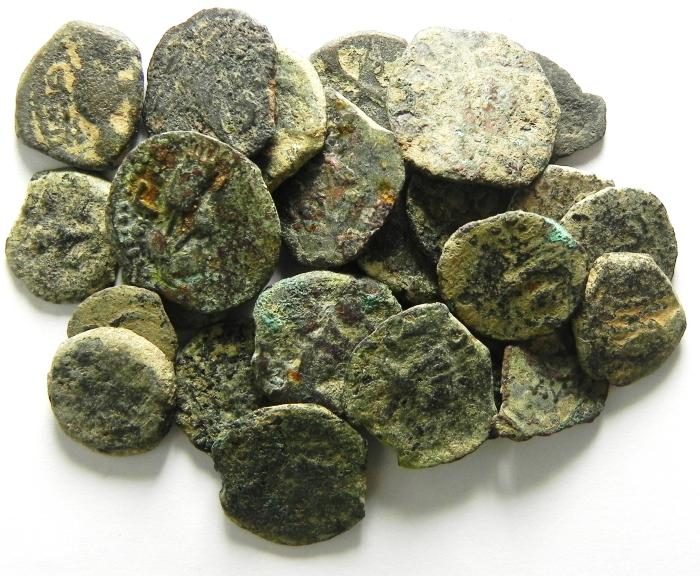 Ancient Coins - JUDAEA , LOT OF 25 UNCLEANED PRUTOT & SOME OTHER