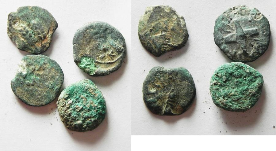 Ancient Coins - JUDAEA. LOT OF 4 AE PRUTOT. NEEDS CLEANING