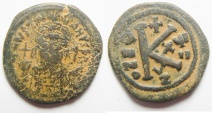 Ancient Coins - Byzantine Empire Justin II Æ Half-Follis