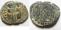 "Ancient Coins - WITH ""TAYYEB"" ON REV. : ISLAMIC. Ummayad caliphate. Arab-Byzantine series. AE fals (27mm, 6.47g). Baysan (Scythopolis) mint. Struck c. AD 650-700."