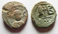Ancient Coins - Sasanian Occupation of Egypt.  Khusro II Alexandria 12 Nummi