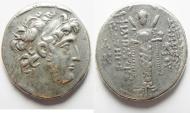 Ancient Coins - VERY RARE ISSUE: Seleukid kingdom. Demetrios III Eukairos (96-87 BC). AR tetradrachm (27mm, 15.85g). Struck in SE 217 (96/5 BC).