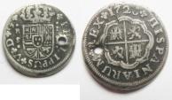 World Coins - Spanish. Silver 2 reals. Philip V . Seville mint