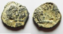 Ancient Coins - 	NABATAEAN KINGDOM. RABBEL II & GAMILAT AE 17