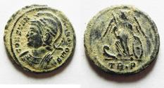 Ancient Coins - BEAUTIFUL ORIGINAL DESERT PATINA. CONSTANTINE I AE 3 . COMMEMORATIVE. TRIER MINT