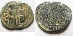 "Ancient Coins - WITH ""TAYYEB"" ON REV. : ISLAMIC. Ummayad caliphate. Arab-Byzantine series. AE fals (27mm, 6.47g). Baysan (Scythopolis) mint. Struck c. AD 650-700."