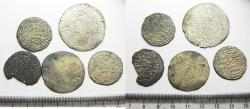 Ancient Coins - RASULIDS OF YEMEN: LOT OF 5 SILVER DIRHAMS . 1321 - 1363 A.D