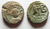 Ancient Coins - Sasanian Occupation of Egypt.  Khusro II Alexandria 12 Nummi