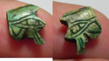 Ancient Coins - ANCIENT EGYPT, GLAZED STONE EYE OF HORUS AMULET. 600 - 300 B.C