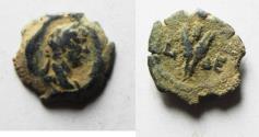 Ancient Coins - EGYPT. ALEXANDRIA. HADRIAN AE DICHALCON. DESERT PATINA