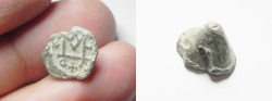 Ancient Coins - BYZANTINE. Lead seal impression (13x8mm). Uniface. Large ME monogram with C N and cross below