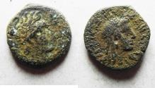 Ancient Coins - PTOLEMAIC EMPIRE. CYRENE , PTOLEMY V AE 15 , WITH LIBYA ON REVERSE