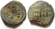 Ancient Coins - BYZANTINE - HERACLIUS AE FOLLIS , OVERSTRUCK