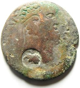 Ancient Coins - ARABIA , RABBATH MOBA , CHOICE COUNTERMARK ON THIS BARBARIC COIN , SEPTIMIUS SEVERUS AE 27
