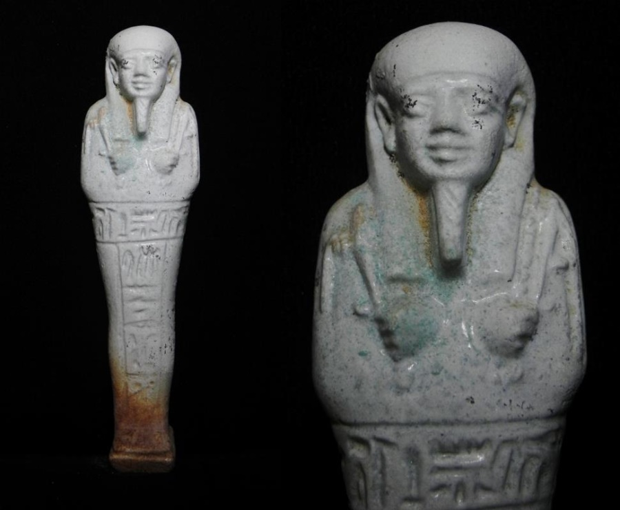 Ancient Coins - Ancient Egyptian faience ushabti for the priest of Smentet, Padiusir. 600 - 300 B.C