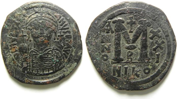 Ancient Coins - JUSTINIAN I AE FOLLIS , AE 36 , NICE