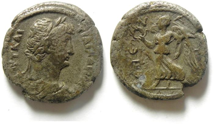 Ancient Coins - EGYPT , ALEXANDRIA , HADRIAN BILLON TETRADRACHM WITH NIKE , VERY RARE!
