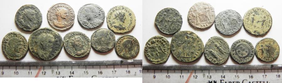 Ancient Coins - LOT OF 9 ANCIENT ROMAN BRONZE COINS