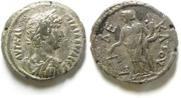 Ancient Coins - EGYPT , ALEXANDRIA , HADRIAN AR TETRADRACHM , NICE QUALITY , dikaiosyne , year 10