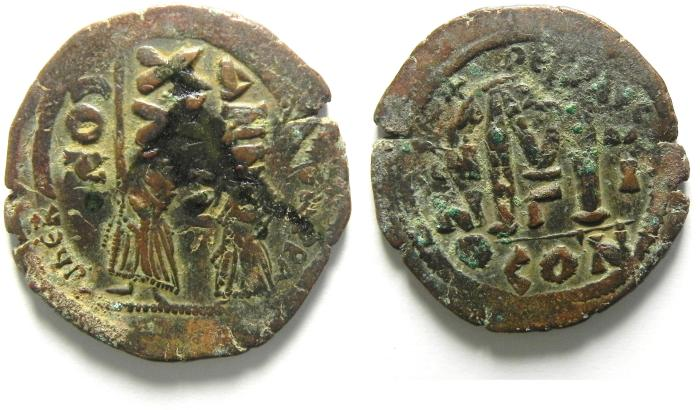 Ancient Coins - HERACLIUS FOLLIS , OVER STRUCK ON A PHOCAS FOLLIS