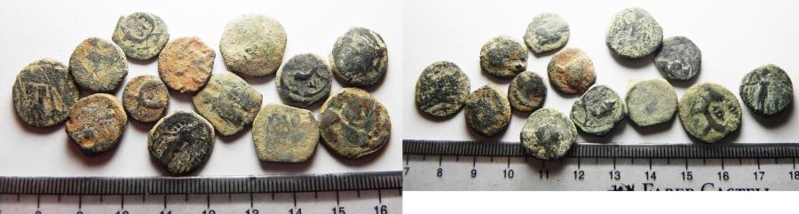Ancient Coins - NABATAEAN KINGDOM. LOT OF 13 AE COINS