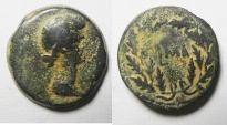 Ancient Coins - EGYPT. ALEXANDRIA LIVIA UNDER AUGUSTUS (27 BC-AD14). AE DIOBOL (23MM, 8.69G). DATE WITHIN WREATH