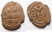 Ancient Coins -  BYZANTINE. Justin II (AD 565-578). AE follis (30mm, 7.52g). Justin II,
