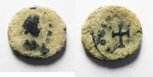 Ancient Coins - ROMAN AE 4 WITH A CROSS. AS FOUND
