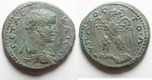 Ancient Coins - VERY RARE VARIETY: Syria. Seleucis and Pieria. Antioch under Geta (AD 209-212) Billon tetradrachm (27mm, 12.64g).