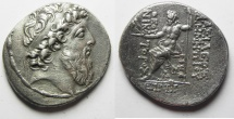 Ancient Coins - GREEK. Seleukid kings. Demetrios II Nikator (second reign, 129-126/5 BC). AR tetradrachm (29mm, 12.60g). Ptolemais (Ake)  mint. Struck in SE 185 (128/7 BC).