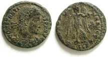 Ancient Coins - EXTREMLY RARE AE 4 OF CONSTANTIUS II WITH NIKE HOLDING WREATH TO RIGHT