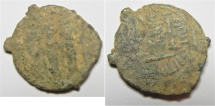 Ancient Coins - VERY RARE: ISLAMIC. Ummayad caliphate. Time of 'Abd al-Malik (AH 65-86 / AD 685-705). Arab-Byzantine series. AE fals (19mm, 3.80g). Tabariyya mint.