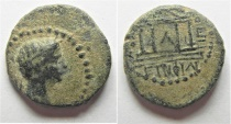 Ancient Coins - Judaea. Herodian dynasty. Herod Philip (4 BC-AD 34) with Tiberius. AE 16mm, 2.75g. Panias mint. Struck in regnal year 30 (AD 26/7).