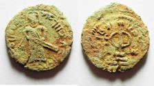 Ancient Coins - Arab-Byzantine, Umayyad Caliphate Æ Fals.  Abd al-Malik ibn Marwan, circa AH 73-78 (AD 693-697).