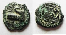 Ancient Coins - Judaea, The Herodians. Herod Archelaus, 4 BC-6 AD. AE Prutah . Prow