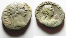 Ancient Coins - EGYPT. ALEXANDRIA. NERO BILLON TETRADRACHM WITH POPPAEA