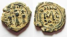 Ancient Coins - BYZANTINE. Heraclius & Heraclius Constantine, AE FOLLIS