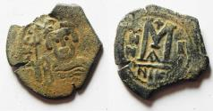 Ancient Coins - COUNTERMARKED. Byzantine Empire. Heraclius. Nicomedia mint Æ Follis