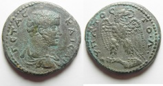 Ancient Coins - VERY RARE VARIETY: Syria. Seleucis and Pieria. Antioch under Geta (AD 209-212) Billon tetradrachm (27mm, 12.64g).