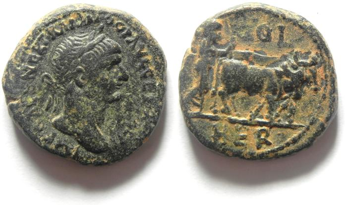 Ancient Coins - Roman Provincial. Phoenicia. Berytus. Under Trajan (AD 98-117). Struck AD 112-117 . AE 23 , Choice Quality as found!!!!