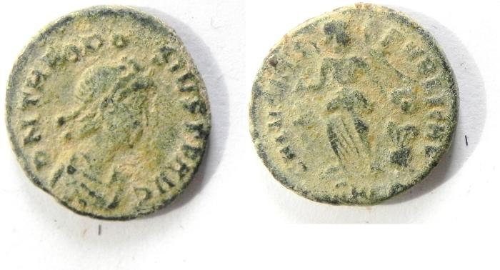 Ancient Coins - THEODOSIUS AE 3 ,AS  FOUND