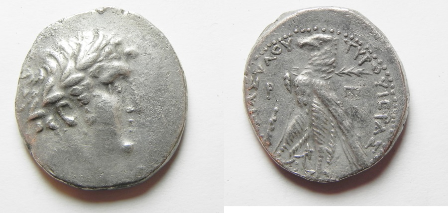 Ancient Coins - Phoenicia. Tyre. AR shekel (tetradrachm) (27mm, 13.49g). Struck in civic year 100 (27/6 BC).