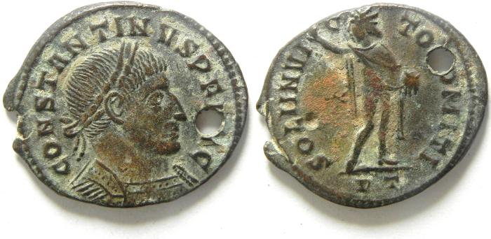 Ancient Coins - CONSTANTINE I AE FOLLIS PIERCED