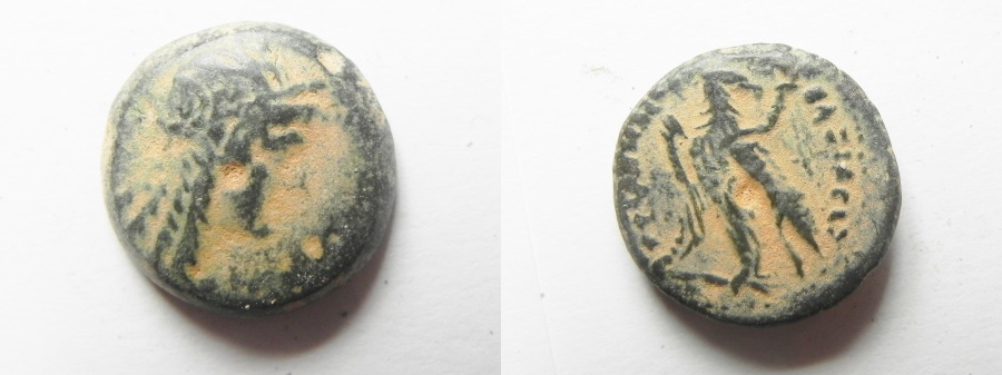 Ancient Coins - Ptomemaic Kingdom. Ptolemy IV AE 17. Isis Head