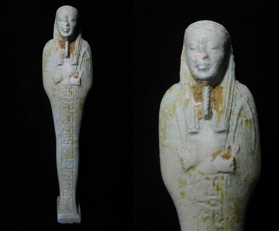 Ancient Coins - Egyptian faience ushabti with hieroglyphs for the Lady Neferuiik (Beauty has come) . 600 - 300 B.C